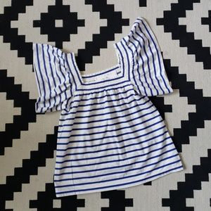 J Crew White Blue Striped Top